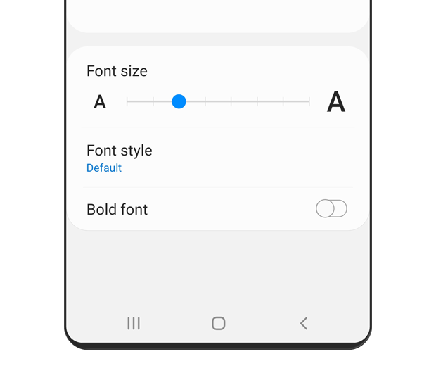 Options for font size, font style, and bold font are displayed.