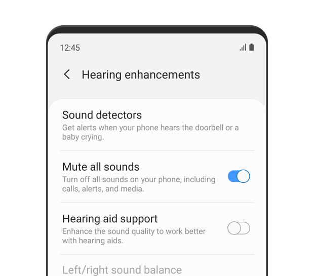 The 'Hearing enhancements' menu is displayed. Mute all sounds is turned 'on'. The description text reads: Turn off all sounds on your phone, including calls, alerts, and media.