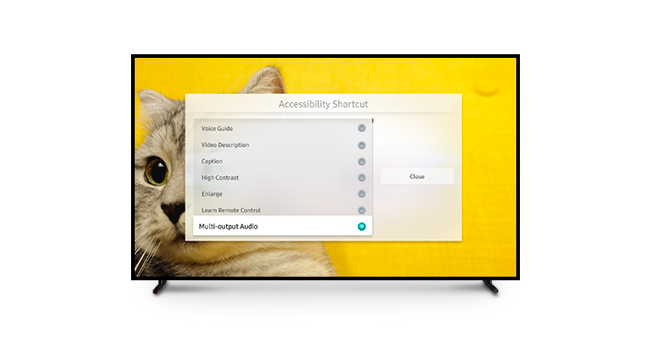 The Multi-output Audio function is highlighted in the Accessibility Shortcut screen.