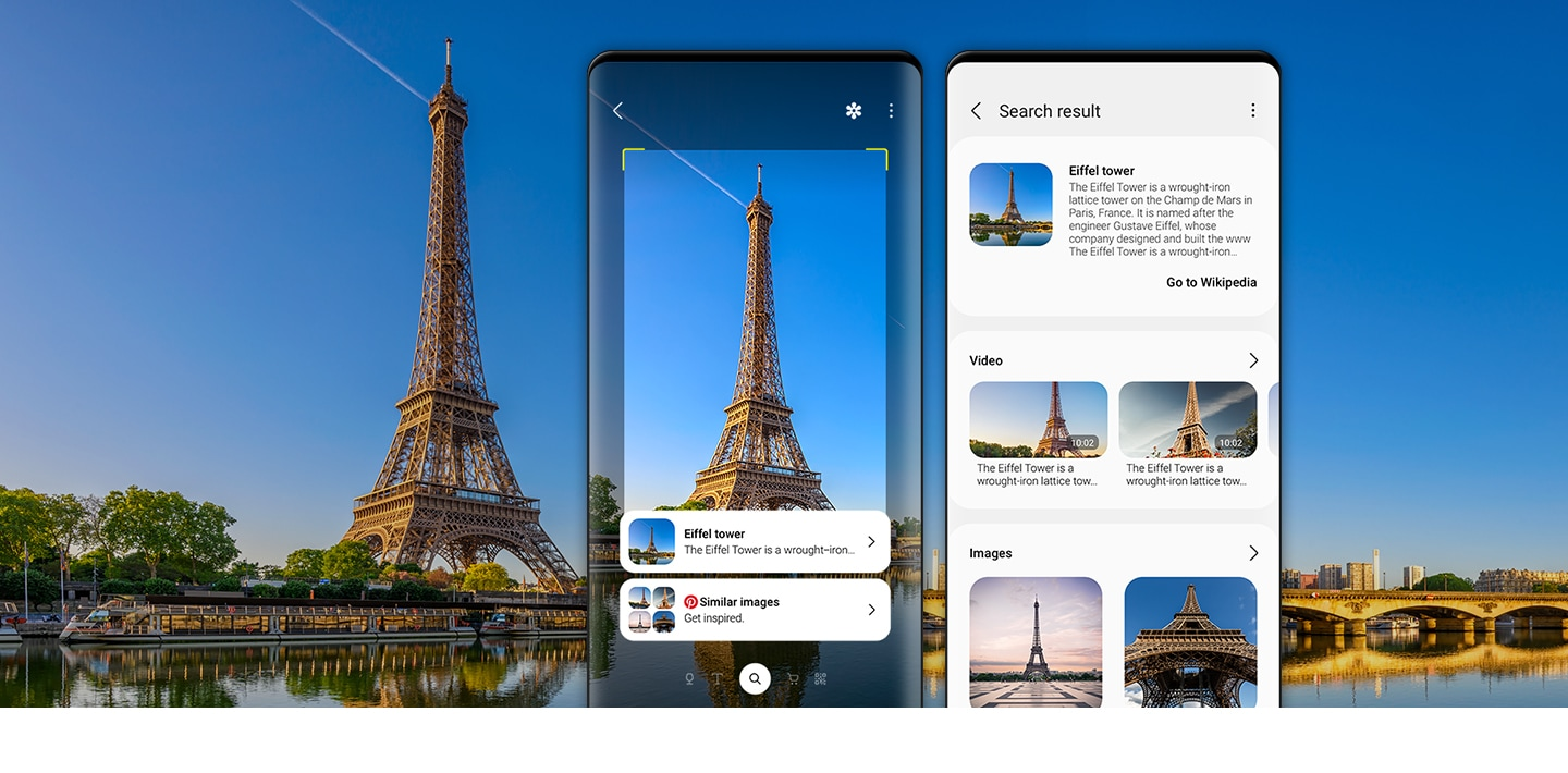 Bixby Vision recognizes the Eiffel Tower and a list of detected images is shown on the phone.