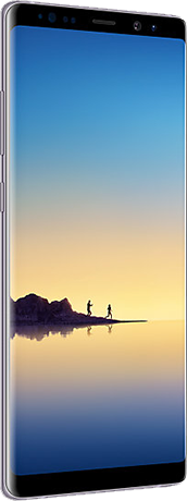 Angled left view of Galaxy Note8 in Orchid gray