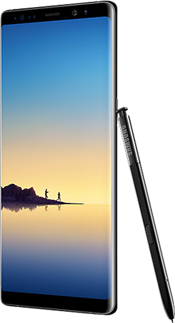 Angled right view of Galaxy Note8 in Midnight Black