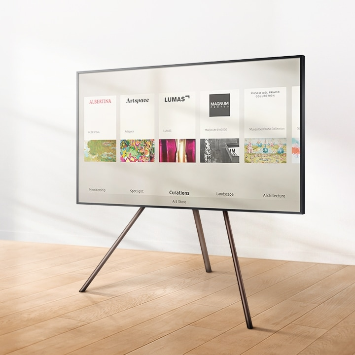 The Frame displaying the Art Store menu with the walnut customisable frame and Studio Stand.