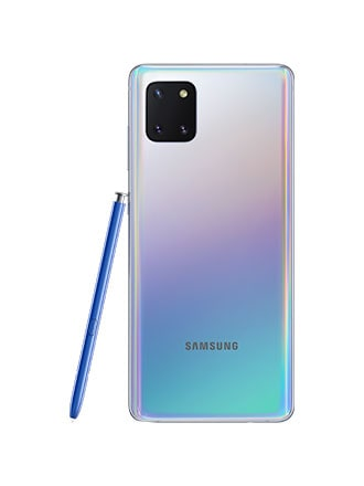 Back-facing shot of an upright Galaxy Note10 Lite with an S Pen leaning on the side of it