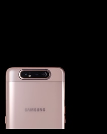 Rearview shot of the rotating camera on a top-half view of an Angel Gold Samsung Galaxy A80 smartphone