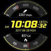 Activity Racer watch face in yellow