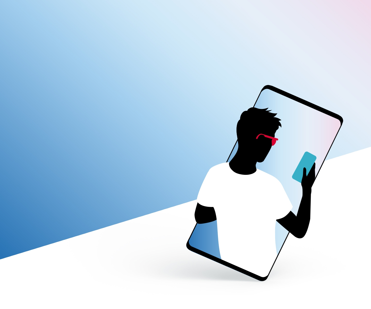 Within a mobile device we see an illustration of a businessman with red sunglasses holding a blue Galaxy phone.