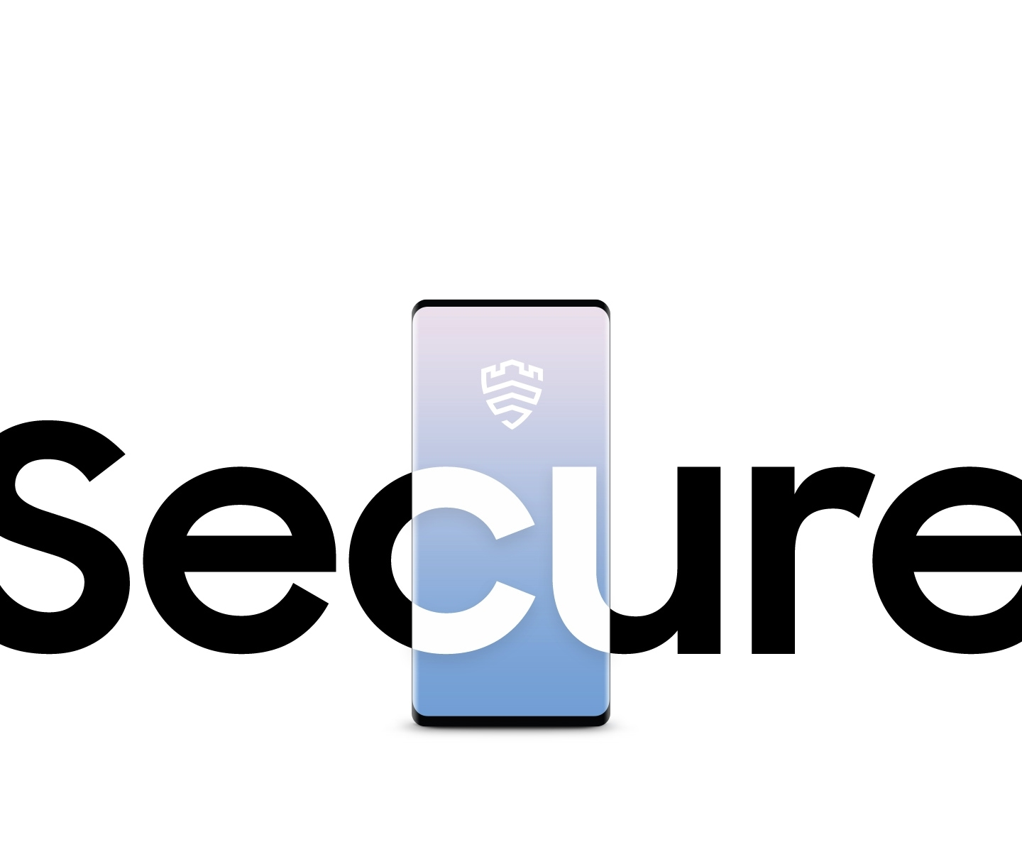 In big bold type the word 'Secure' appears on bottom screen. The letters 'C' and 'U' of  the word 'Secure' overlay a Galaxy S10 screen within the bottom center of our website. Above the two letters on the phone screen we see a security emblem.