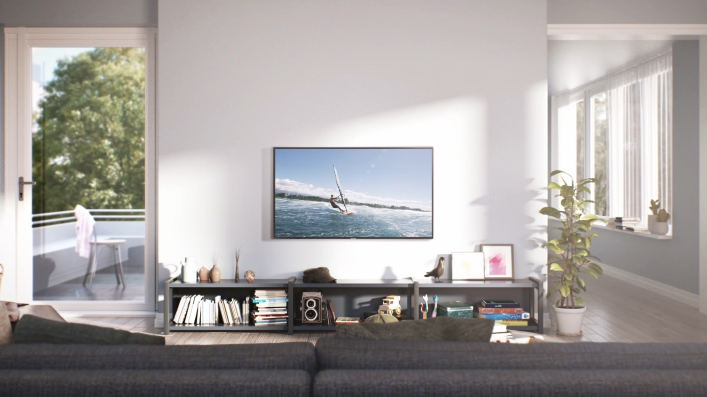 A thumbnail image of a Super Big TV size simulator video - A cozy living room with a 43 inch TV.