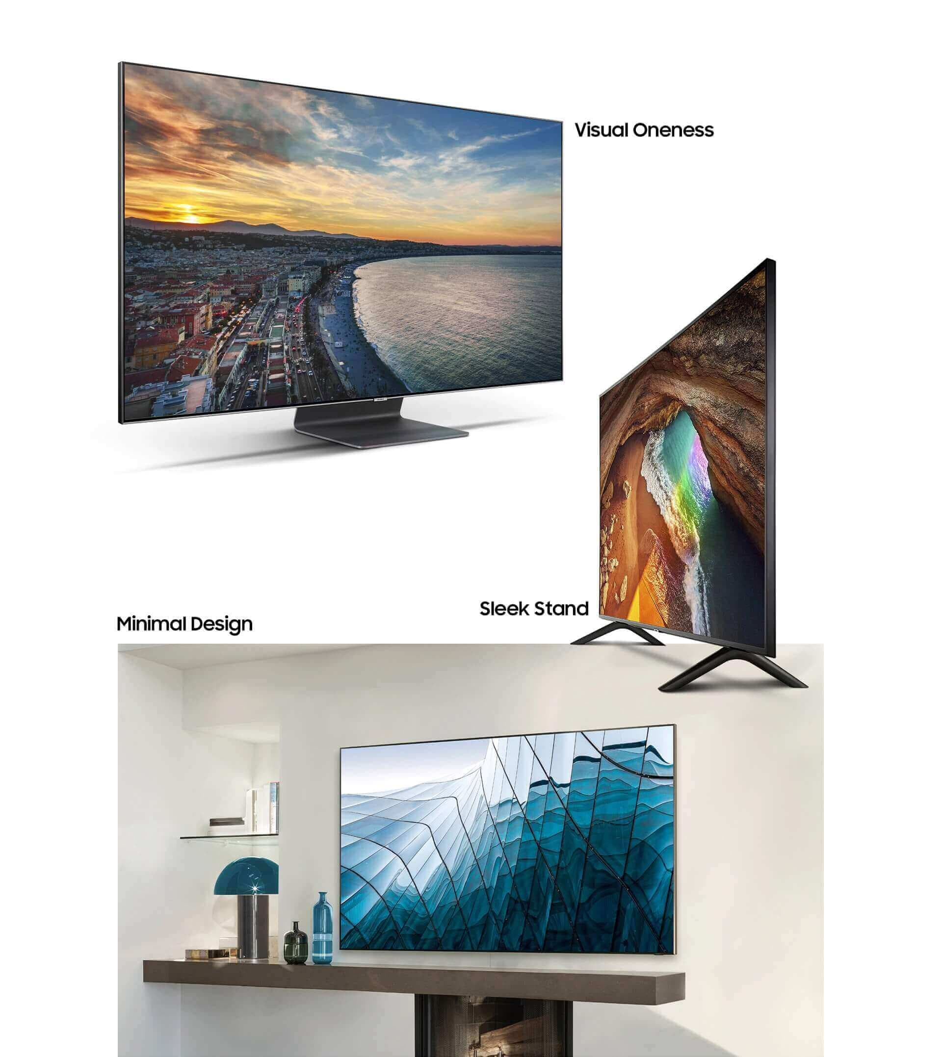 A showcasing of multiple 2019 samsung QLED TVs, featuring a left-dynamic angle of the 2019 Q90R with visual oneness, a right-dynamic angle of the 2019 Q60R image with sleek stand design, and an interior image with a Q900R mounted on a wall in a living room with its minimal design that fit right in the room.