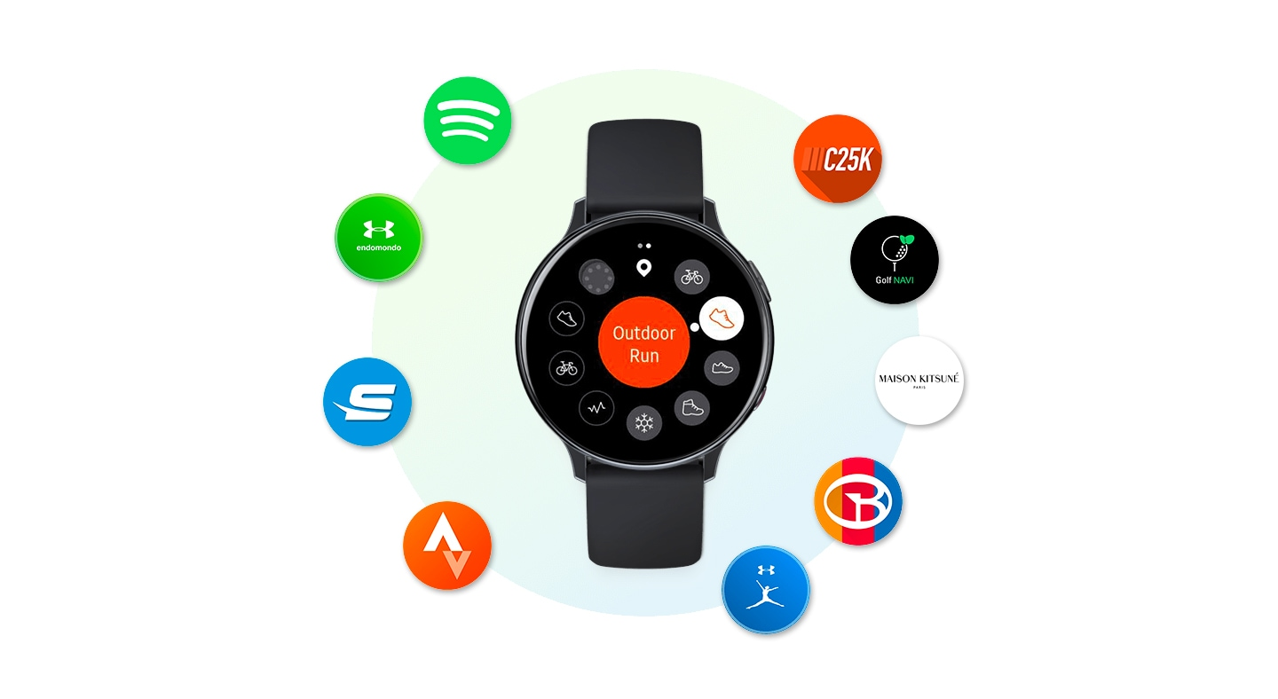 Galaxy Watch Active2 in black seen from the front, surrounded by icons for various smartwatch apps: Spotify, Endomondo, Swim.com, Strava, C25K,  Golf Navi Pro, Maison Kitsune, Smart Caddie, and MyFitnessPal