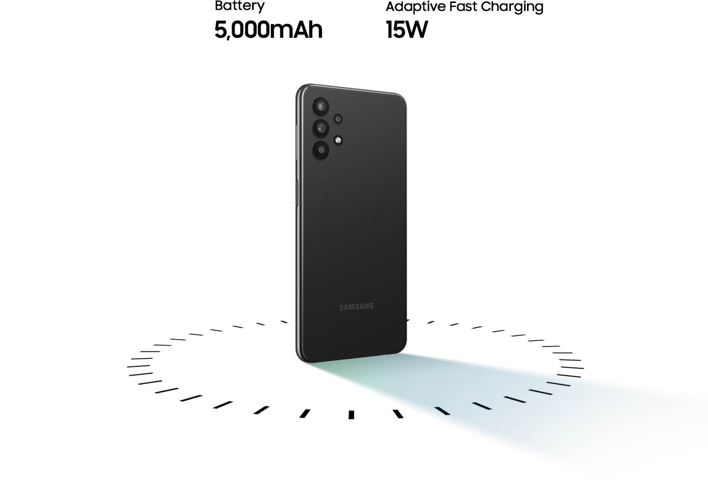 Galaxy A32 5G stands up, surrounded by circular dots, with the text of 5,000mAh Battery and 15W Adaptive Fast charging.