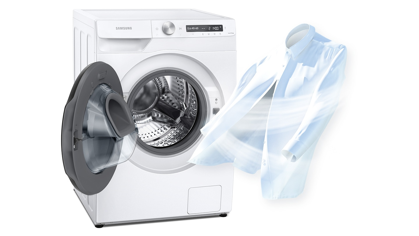 To show cleanliness, a strong air current is being blown to a white shirt where it stands next to an open dryer door.