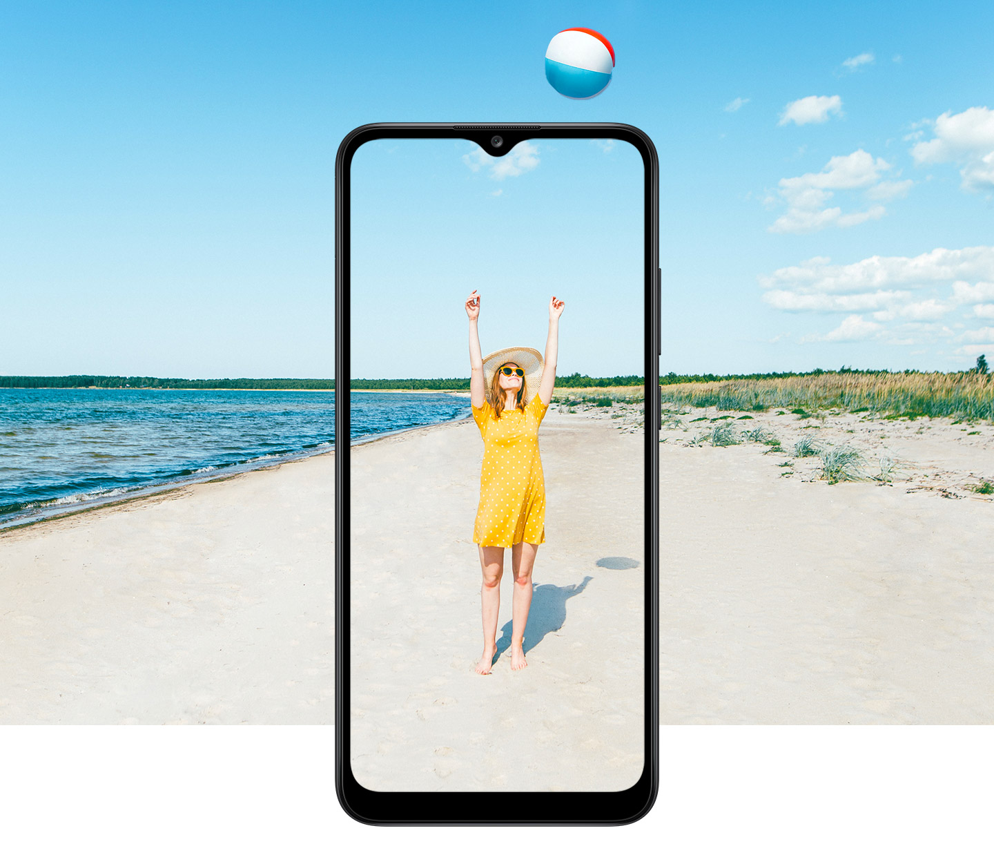 A girl wearing yellow dress, raising her arms captured in A02s display, utilizing 6.5 inch Infinity-V display feature.