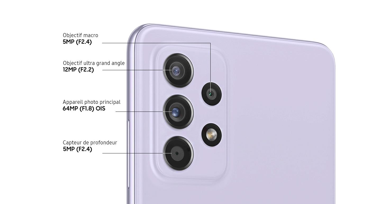 Un gros plan sur le quadruple appareil photo du modèle Violet Magistral, montrant l'appareil photo principal F1.8 64MP OIS, l'objectif ultra grand angle F2.2 12MP, le capteur de profondeur F2.4 5MP et l'objectif macro F2.4 5MP.