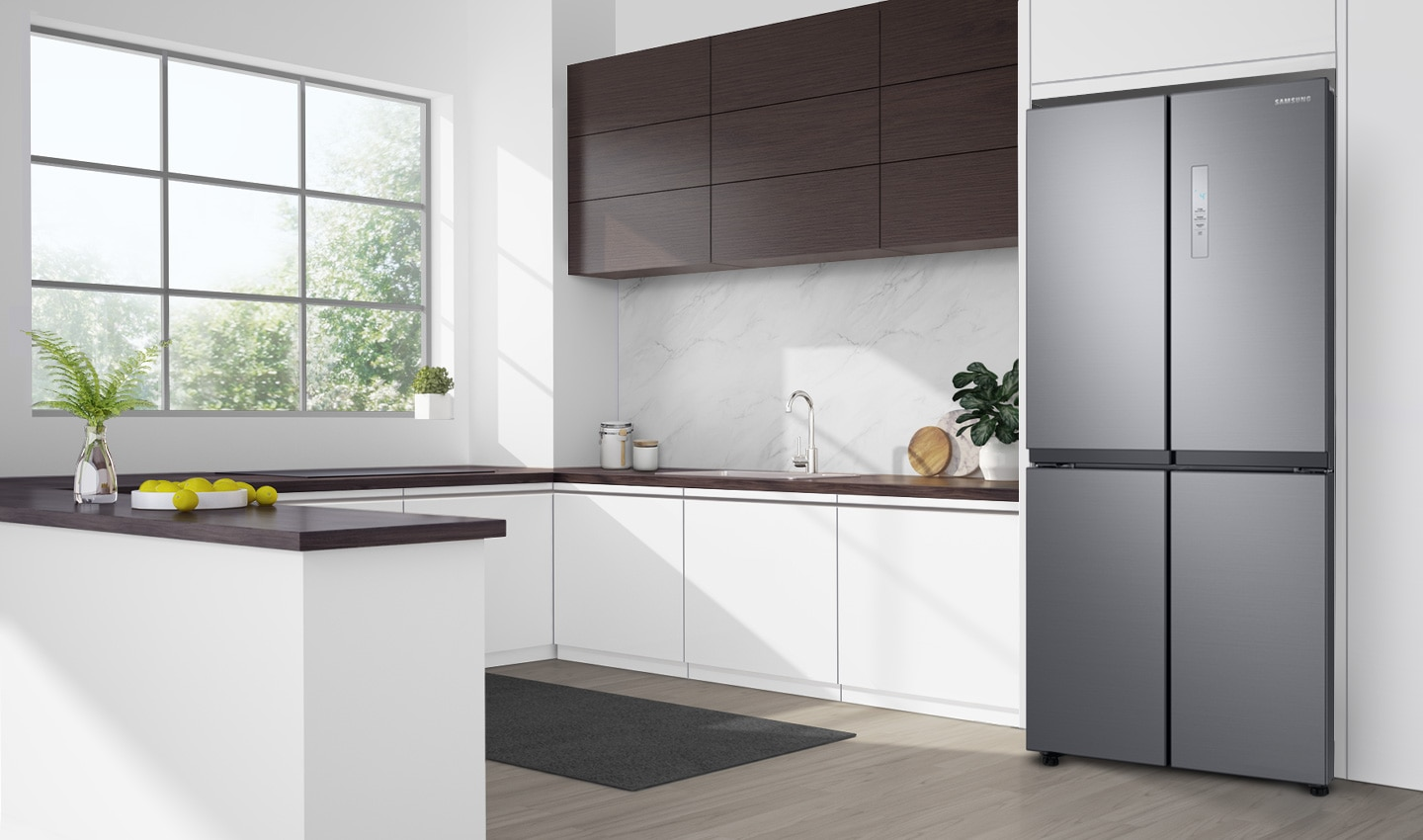 The SRF5500S in a kitchen. The SRF5500S is positioned slightly forward of the wall, a little further than the depth of the door