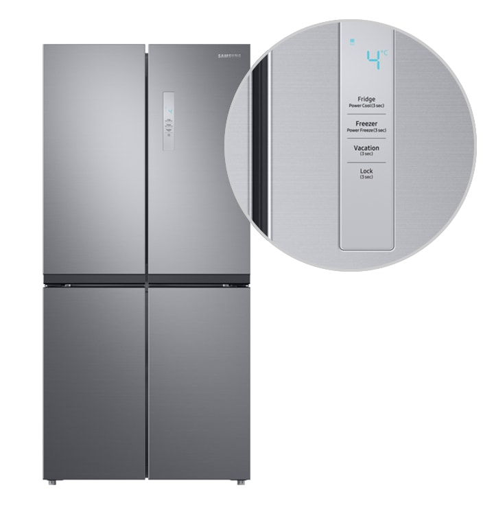 All the doors of the SRF5500S are open, while LED lighting illuminates the food in the fridge and freezer chambers.