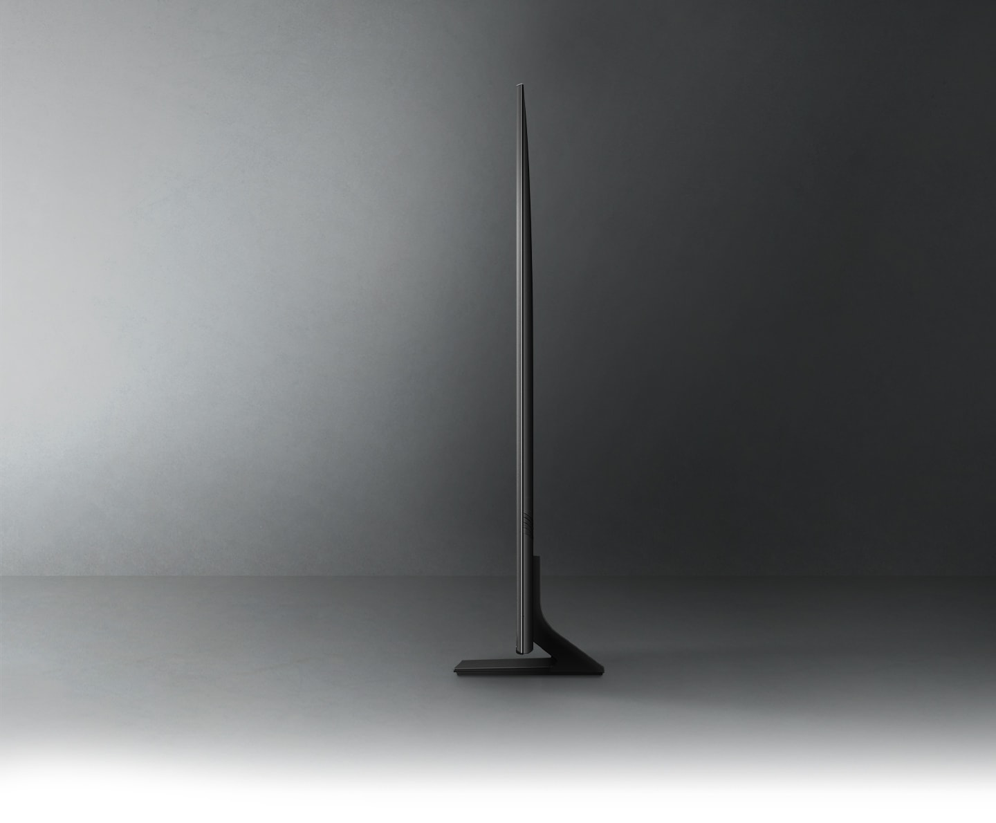 Profile view of QLED TV shows ultra slim design of QLED TV AirSlim.