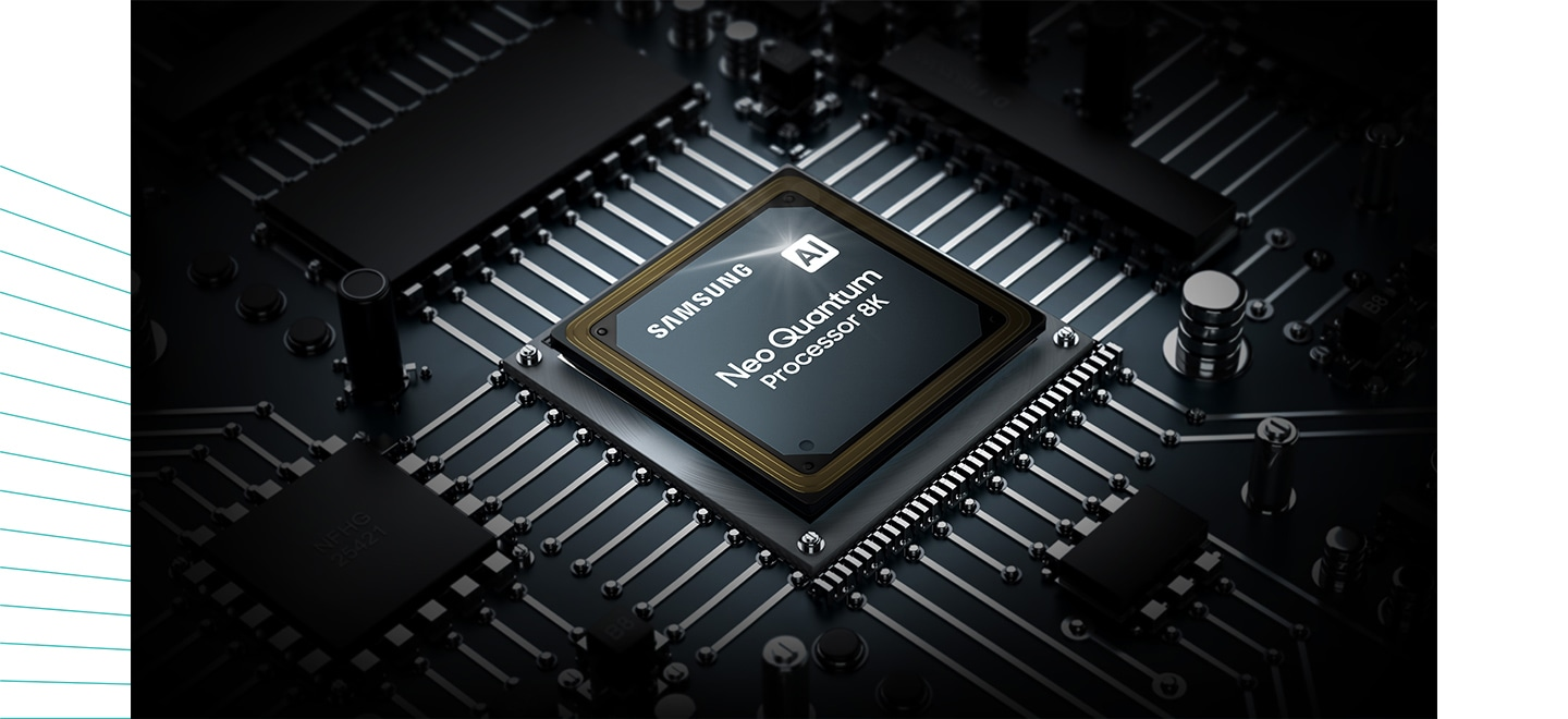 The Neo QLED TV processor chip is shown. The Samsung logo as well as the AI Neo Quantum Processor 8K logo can be seen on top.