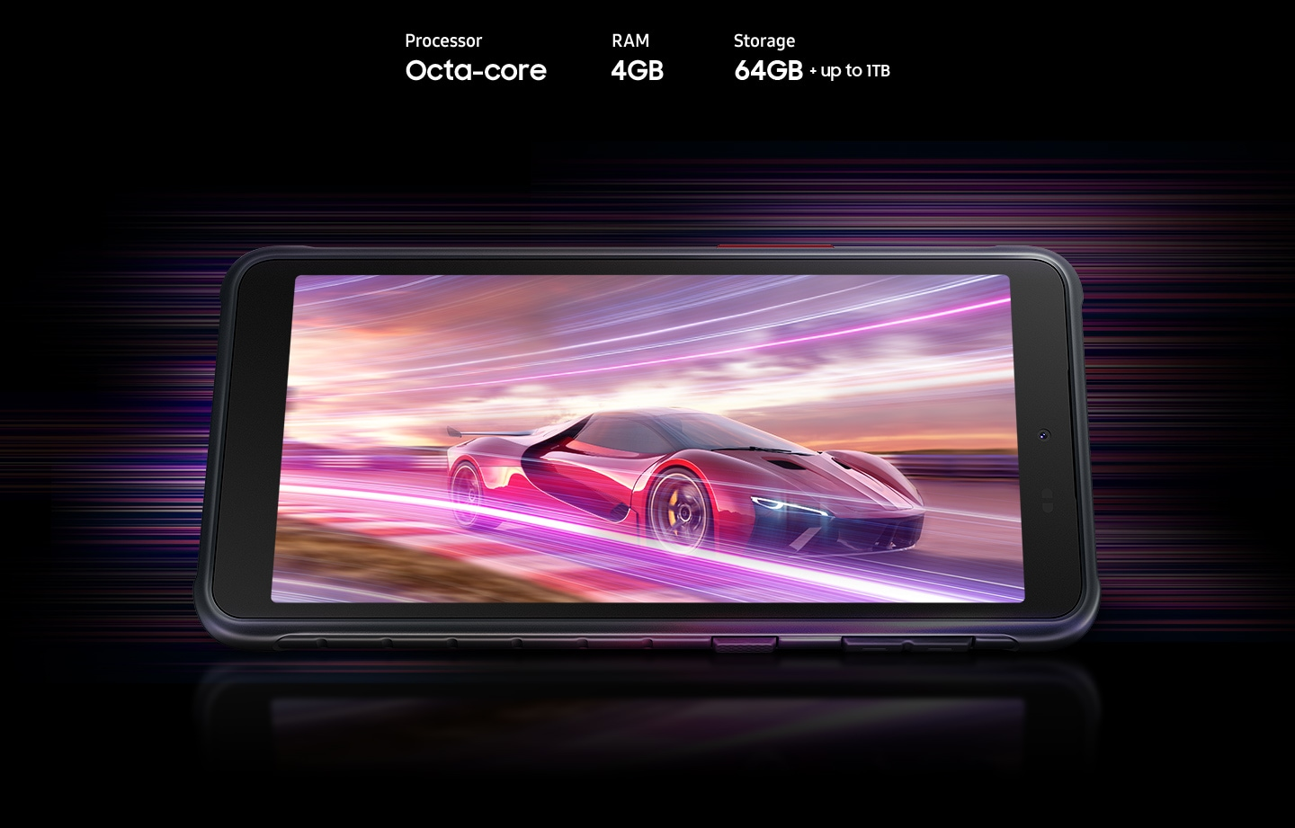Galaxy XCover 5 shows a red racing car, indicating device offers Octa-core processor, 4GB RAM, 64GB with up to 1TB-storage.