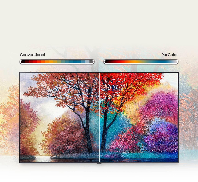 Slika na desnoj strani u odnosu na konvencionalnu na lijevoj strani prikazuje širi spektar proizvodnje boja zahvaljujući tehnologiji PurColor.