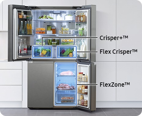 The refrigerator's three doors are open to display the different compartments of the fridge. The Crisper+ drawer is in the upper left, while Flex Crisper is in the upper right of the fridge. On the bottom right of the fridge is the FlexZone.