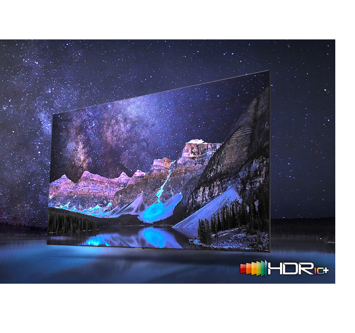 The dark valley surrounded by many stars is clearly visible on QLED TV. QLED TV shows accurate representation of bright and dark colours by catching small details.