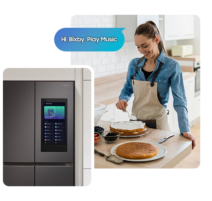 """A woman ices a cake next to a speech bubble that says """"Hi Bixby. Play Music."""" A Family Hub display has Bixby onscreen."""