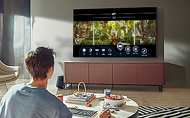 A boy is playing a TV game.