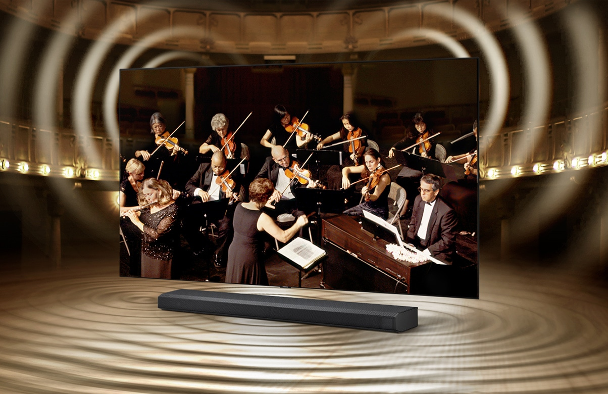 Sound wave graphics from TV speaker and soundbar show that Q Symphony allows sound to be heard simultaneously from TV speaker and soundbar.