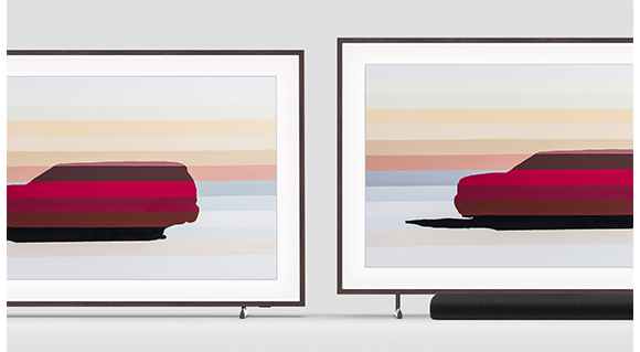 The Frame shows artwork and is using Height Adjustable Stand, illustrating its vertical height adjustability featurewhich allows it to fit a soundbar underneath The Frame's screen.