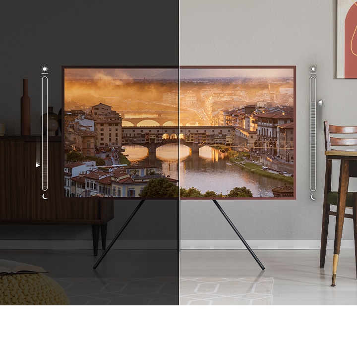 The Frame is divided into two parts. On the left side, there is a brightness meter graphic which shows the brightness level of the on-screen image being lowered to match the low-light setting of the room. On the right side, there is a brightness meter graphic which shows brightness levels of the on-screen image matching the brightness level of the room.