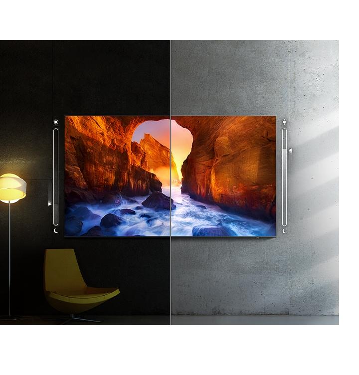 Kakovost televizije v temnem prostoru in kakovost televizije v svetlem prostoru se primerjata v istem prostoru. Zaslon se samodejno prilagodi, da je temnejši v temnem prostoru in svetlejši v svetlem prostoru.