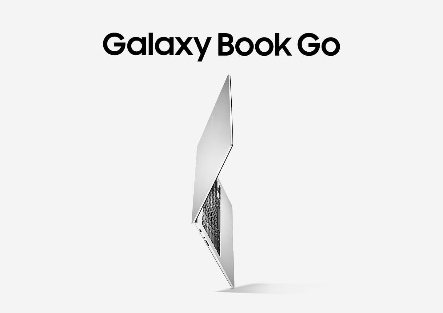 Galaxy Book Go seen unfolded and from the side, showing the exterior of the display half, and interior where the keyboard and touchpad are. It stands on a corner to demonstrate the lightweight form factor.