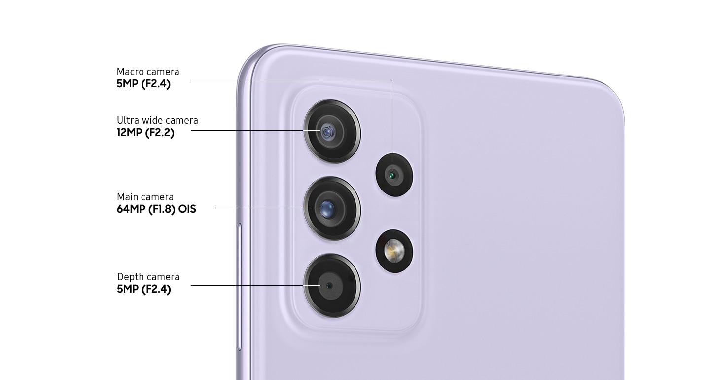 لقطة خلفية عن قرب لكاميرا رباعية متقدمة بالهاتف باللون البنفسجي أوسوم، تظهر الكاميرا الرئيسية بدقة 64 ميجابكسل وبفتحة عدسة F1.8 ومزودة بميزة OIS، وكاميرا فائقة الاتساع بدقة 12 ميجابكسل وبفتحة عدسة F2.2، وكاميرا عمق بدقة 5 ميجابكسل وبفتحة عدسة F2.4، وكاميرا ماكرو بدقة 5 ميجابكسل وبفتحة عدسة F2.4.