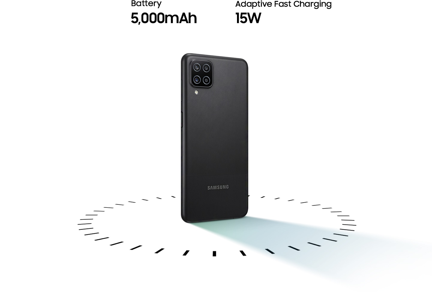Galaxy A12 stands up, surrounded by circular dots, with the text of 5,000mAh Battery and 15W Adaptive Fast charging.