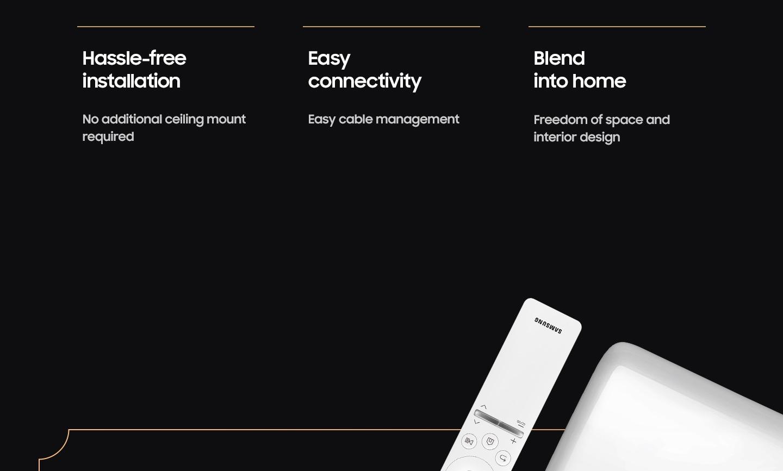 El proyector Samsung UST tiene ventajas como una instalación sin complicaciones, una conectividad sencilla y un diseño que se integra en todos los espacios.