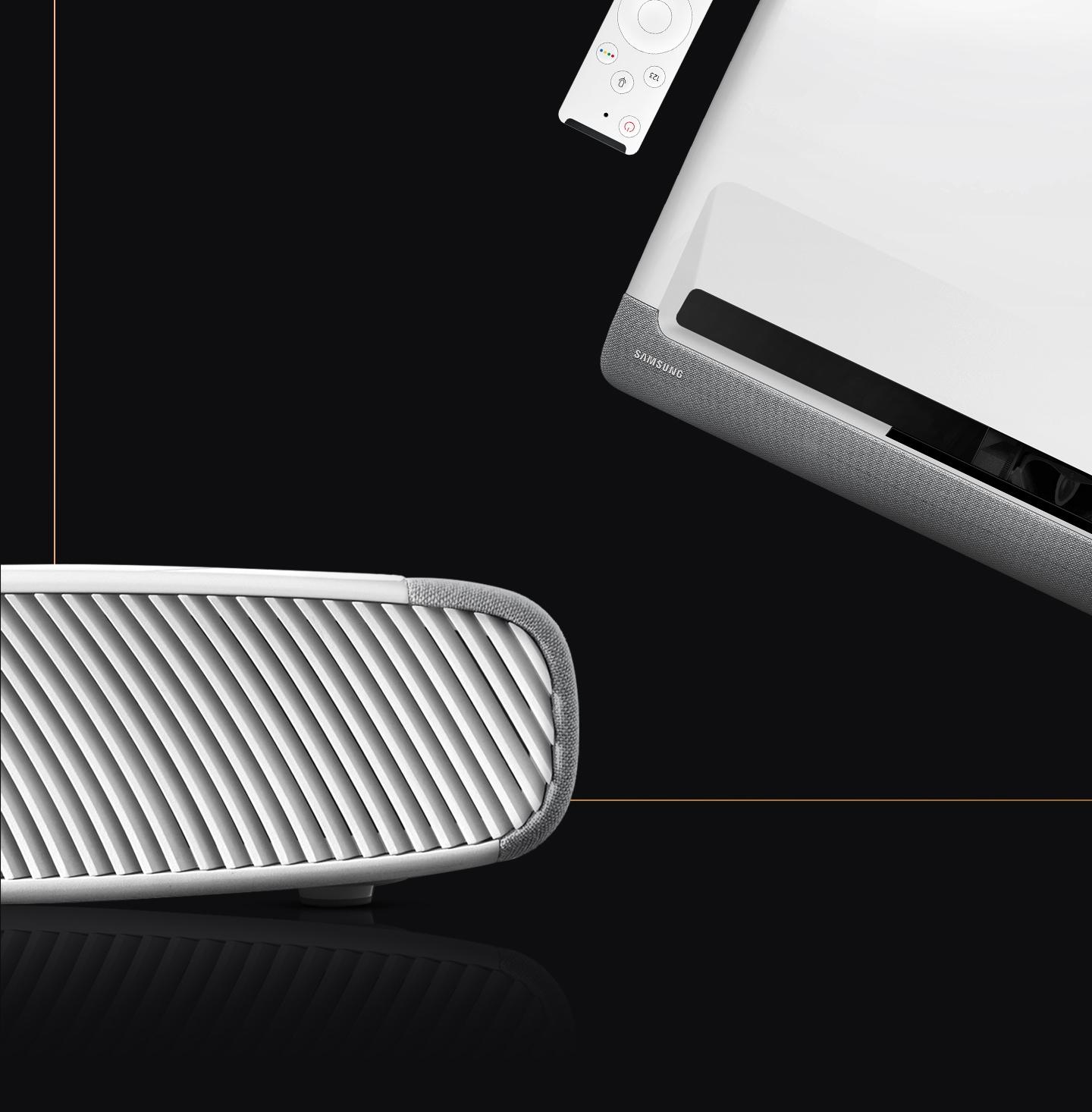 El proyector doméstico Samsung con control remoto se combina armoniosamente en cualquier lugar debido a su diseño compacto y redondo.