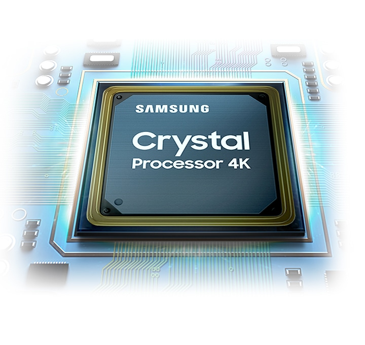The crystal processor chip is shown. The Samsung logo as well as the Crystal Processor 4K logo can be seen on top.