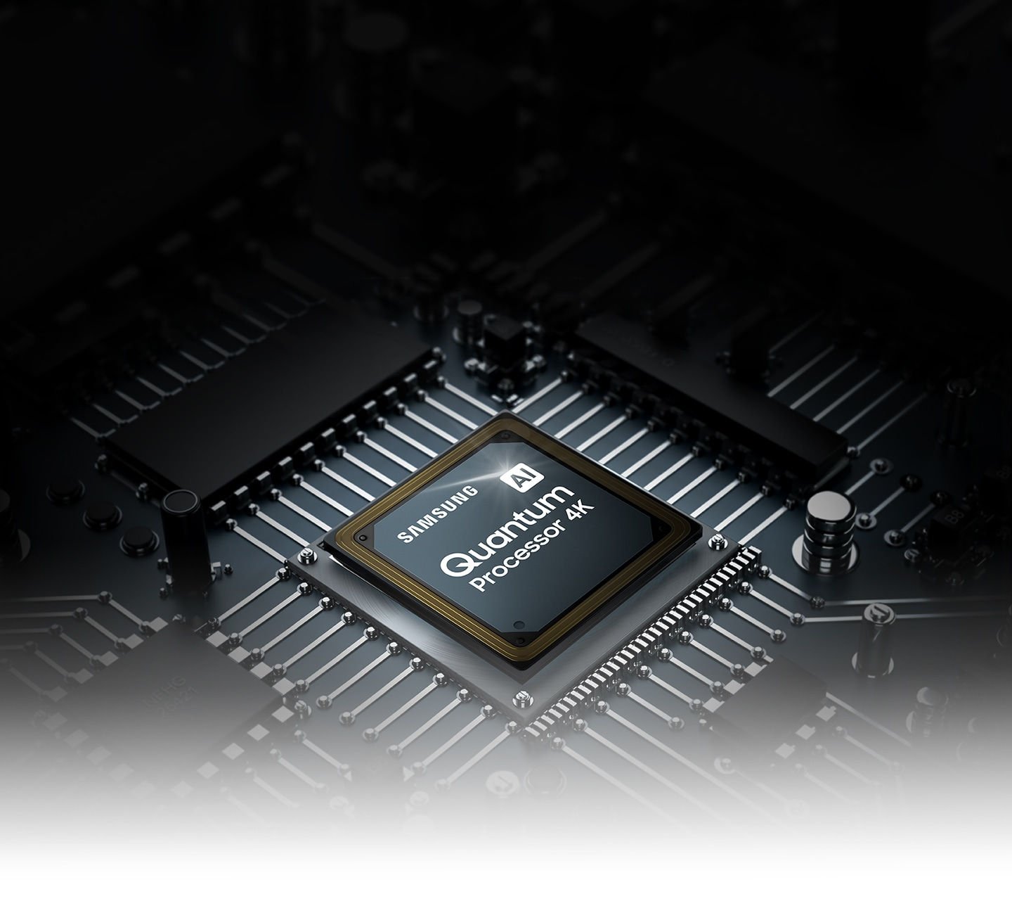 QLED TV processor chip.  The Samsung and AI Quantum Processor 4K logo can be seen at the top.