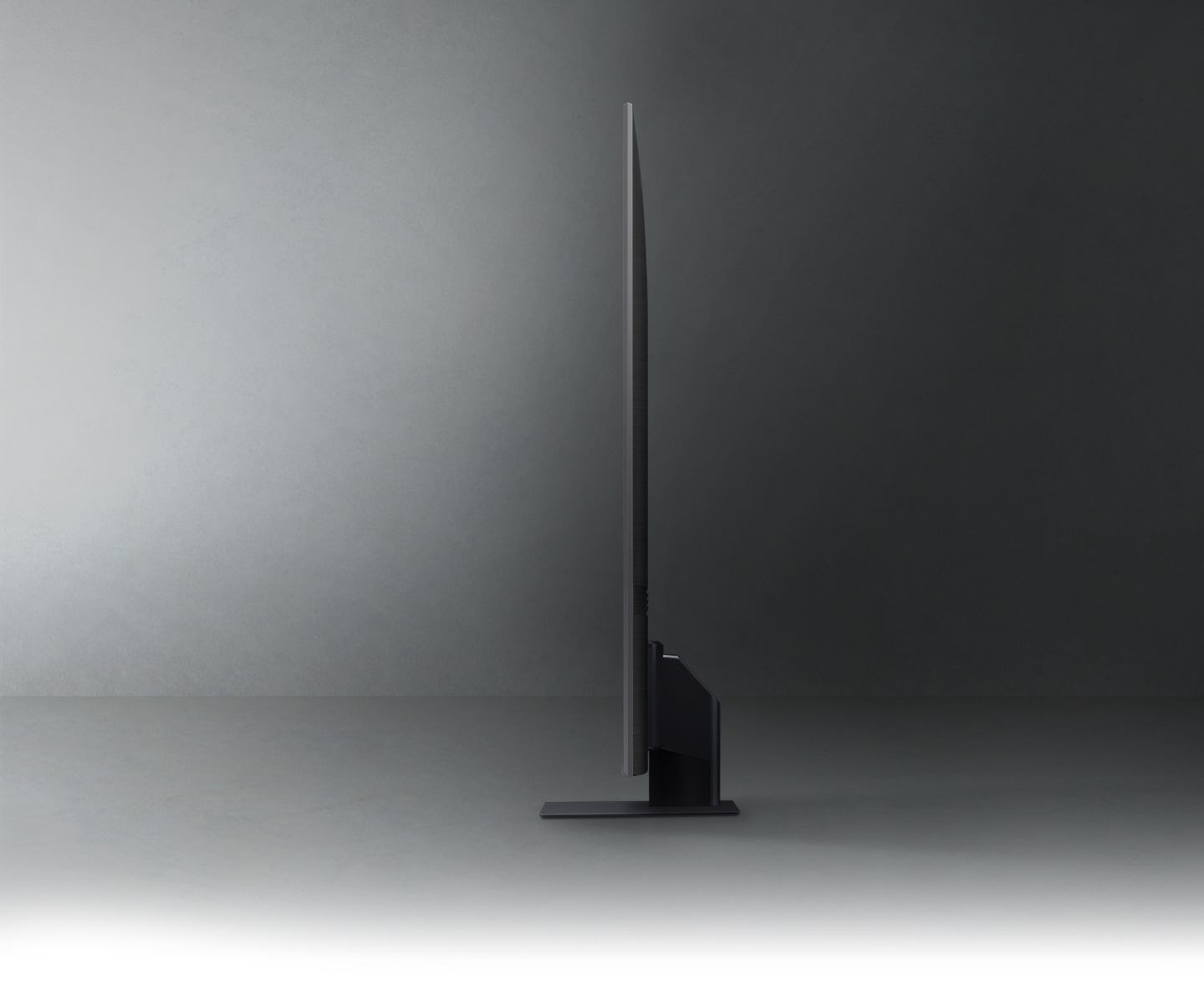 The profile view of the QLED TV shows the ultra-slim AirSlim design.