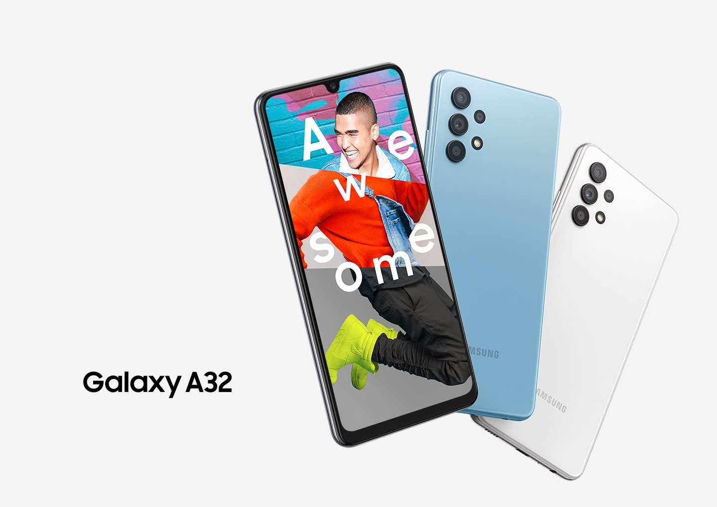 Galaxy A32 Key visual comes out in three devices with its official logo on the side. On the screen, an excited young man hop on where he is standing, surrounding the text of `Awesome` on him.