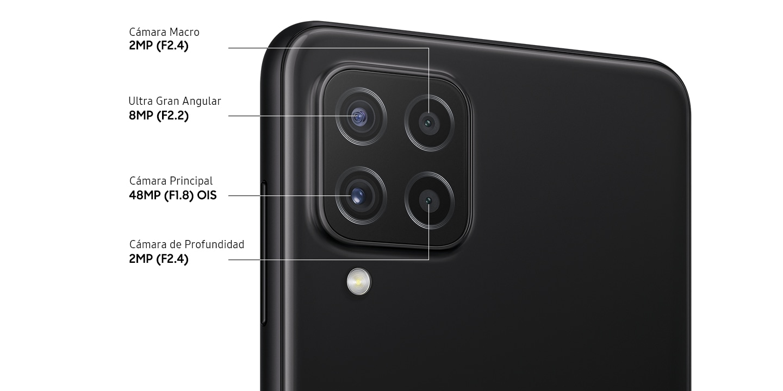 Un primer plano trasero de la cámara cuádruple avanzada en el modelo negro, que muestra F1.8 48MP OIS Cámara principal, F2.2 8MP Ultra Wide Camera, F2.4 2MP Depth Camera y F2.4 2MP Macro Camera.