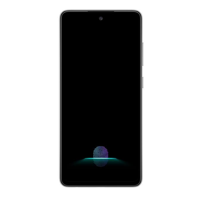 Galaxy A52s 5G visto desde el frente con nada más que el sensor de huellas dactilares en pantalla.