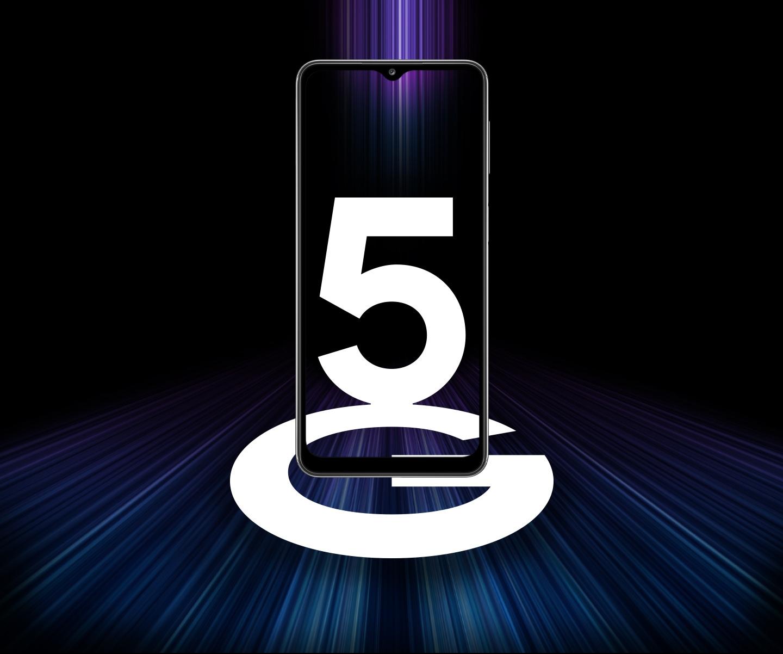 Galaxy A32 5G vue de face avec 5G à l'écran. Des bandes de lumière colorée l'entourent pour représenter les vitesses rapides de 5G.