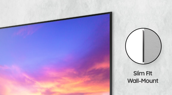 A close-up view of AU8000 shows the narrow gap between TV and wall. The word Slim Fit Wall Mount can be seen on the side.