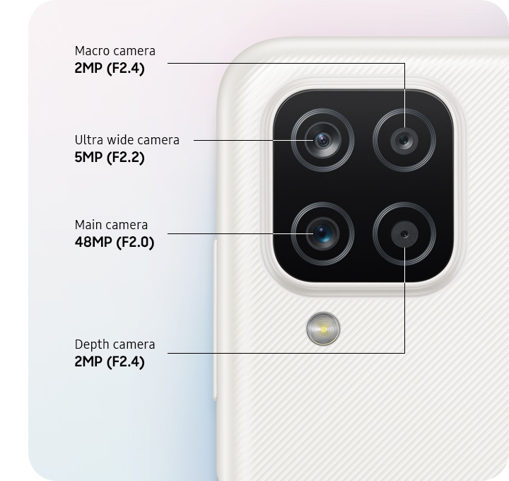 Top back view of a device shown with 4 lenses for 2MP macro camera, 5MP ultra wide camera, main and depth camera respectively