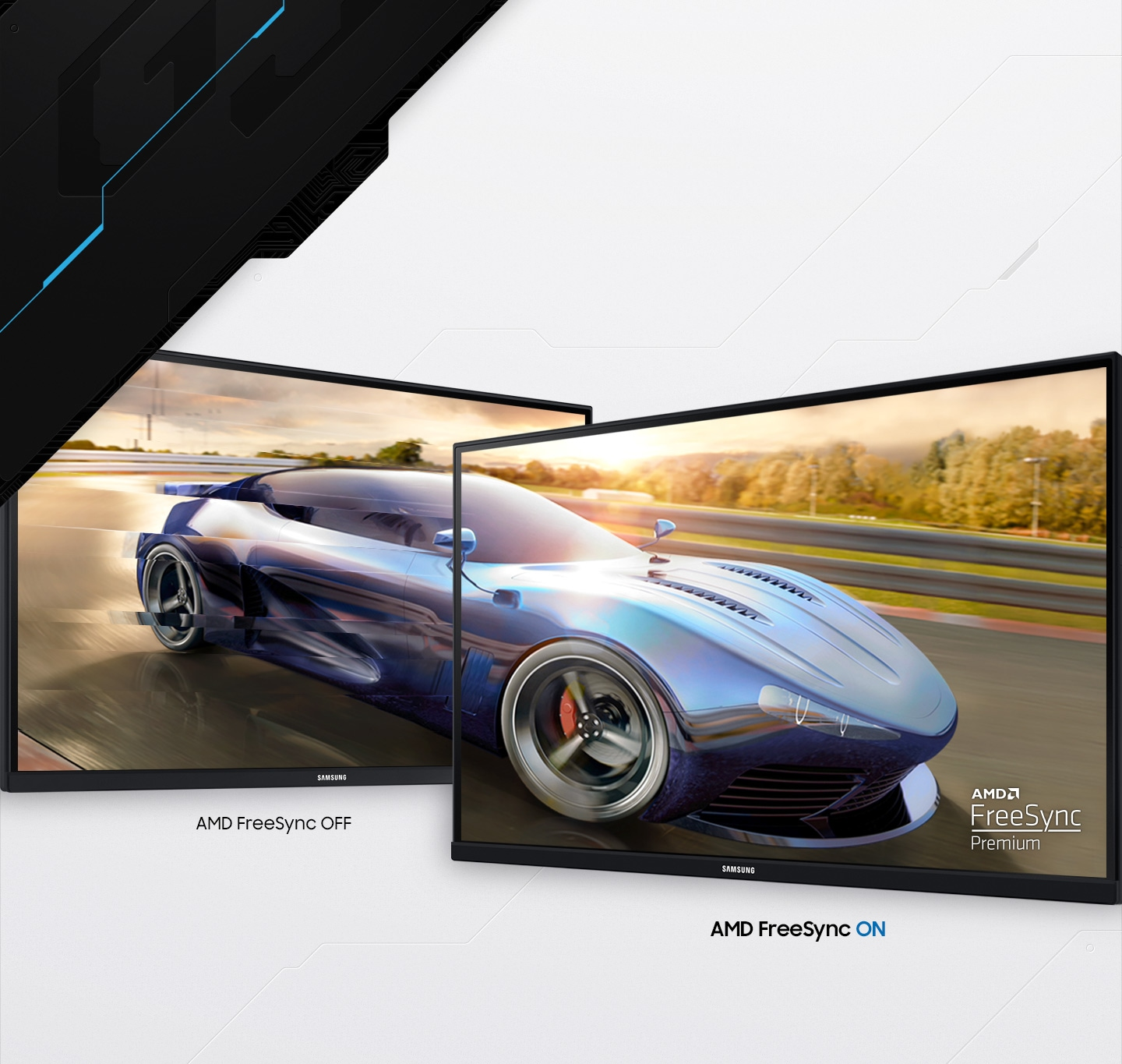 The benefit of AMD FreeSync Premium is explained with the tearing picture on the screen when the feature is off.