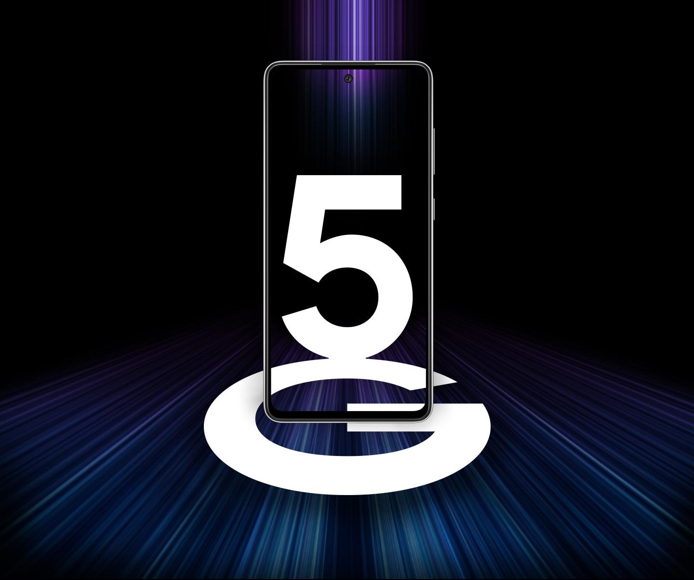 A Galaxy A52 5G elölnézetből látszik 5G felirattal a képernyőn. Színes fénycsíkok vannak körülötte, amik a gyors 5G sebességet fejezik ki.