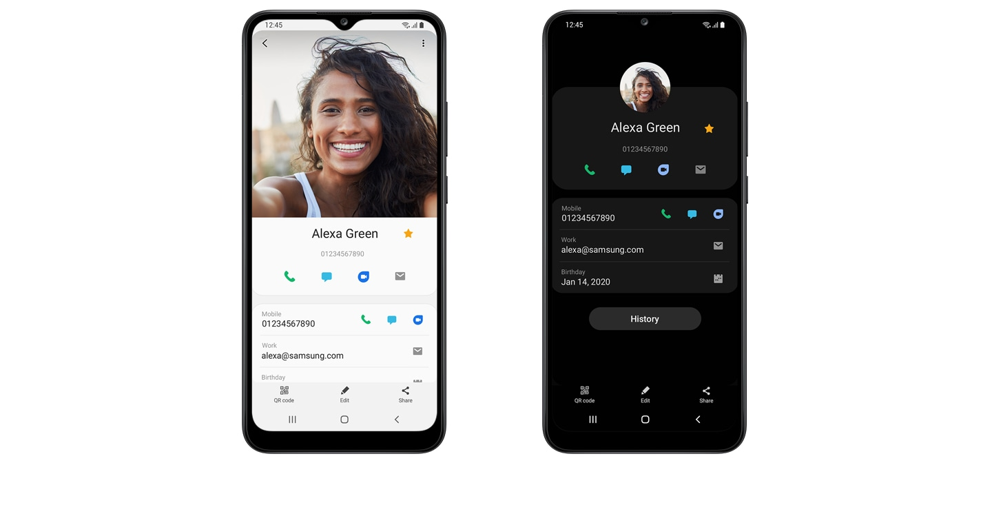 2 front views of device, displaying contact info in white and black background respectively, as One UI core helps you focus.